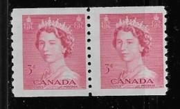 CANADA 1953, MINT #332,QUEEN ELIZABETH 11=KARSH PORTRAIT COIL STAMPS ,  FINE M NH