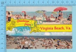 Greetings From -Virginia Beach , Multiview - USA - 2 Scans - Souvenir De...