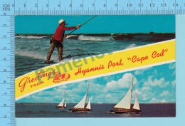 Greetings From - Hyannis Port Cape Cod , Multiview - USA - 2 Scans - Souvenir De...