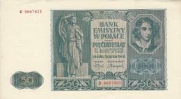 POLAND 50 ZŁOTYCH 1941 P-102 AU/UNC S/N D. 9667823  [ PL102 ] - Poland