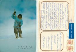 Inuit Hunter, Canada Postcard Posted 1984 Stamp - Cartes Modernes