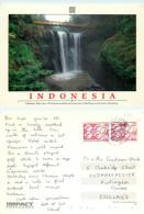 Waterfall, Maribaya, Java, Indonesia Postcard Posted 1992 Stamp - Indonesia