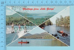 Greetings From - Lake George Multiview  - NewYork USA - 2 Scans - Souvenir De...