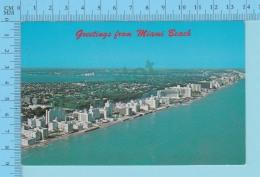 Greetings From -Miami Beach  -Florida USA - 2 Scans - Souvenir De...