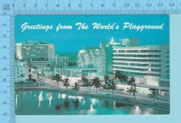 Greetings From - The World's Playground, Night View MiamiBeach -Florida USA - 2 Scans - Souvenir De...