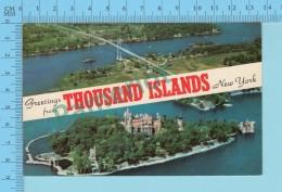 Greetings From - Thousand Islands , Multiview  - New York USA - 2 Scans - Souvenir De...