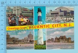 Greetings From - Atlantic City , Multiviews  - New Jersey USA - 2 Scans - Souvenir De...