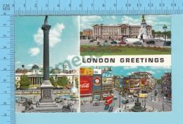 Greetings From - London   , Multiviews  - England- 2 Scans - Souvenir De...