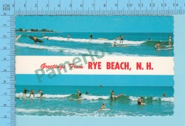 Greetings From  -Rye Beach, Multiview - New Hampshire USA- 2 Scans - Souvenir De...
