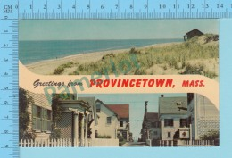 Greetings From   -TProvincetown, Multiview - Massachusetts USA - 2 Scans - Souvenir De...