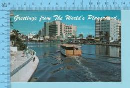 Greetings From   -The World's Playground - Miami Beach Florida USA - 2 Scans - Souvenir De...