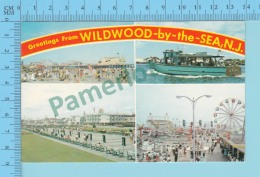 Greetings From   -Wildwood By The Sea, Multiview -New Jersey USA - 2 Scans - Souvenir De...