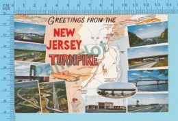 Greetings From - The New Jersey Turnpike, Multiview   -  New Jersey USA - 2 Scans - Souvenir De...