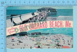 Greetings From - Old Orchord Beach , Multiview   - Maine  USA - 2 Scans - Souvenir De...