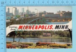 Greetings From - Minneapolis , Multiview   - Minnesota USA - 2 Scans - Souvenir De...