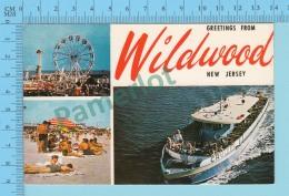 Greetings From - Wildwood , Multiview   - New Jersey USA - 2 Scans - Souvenir De...