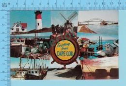 Greetings From -  Cape Cod , Multiview   - Massachusetts USA - 2 Scans - Souvenir De...