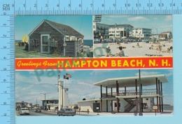 Greetings From -  Hampton Beach , Multiview   - New Hampshire USA - 2 Scans - Souvenir De...