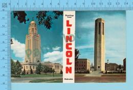 Greetings From - Lincoln , Multiview   -Nebraska USA - 2 Scans - Souvenir De...