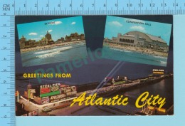 Greetings From - Atlantic City , Multiview   -New Jersey USA - 2 Scans - Souvenir De...