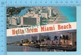 Hello From -  Miami Beach, Multiview  -  Florida USA - 2 Scans - Souvenir De...