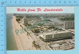 Hello From - Ft. Lauderdale  -  Florida USA - 2 Scans - Souvenir De...