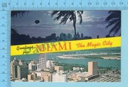 Hello From - Miami The Magic City , Multiview  -  Florida USA - 2 Scans - Souvenir De...