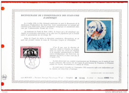 """MONACO 1976 : DAP 1er Jour Nté / Soie (2600 Ex.) """" BICENTENAIRE DE L'INDEPENDACE DES USA """" N° YT 1055. Parf état. - Unabhängigkeit USA"""