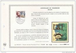 """MONACO 1976 : Feuillet 1° Jour DAP CERES En Soie RARE (2600 Ex) """" 100 ANS DU TELEPHONE """" Avec Le N° YT 1053. Parf état. - Telecom"""