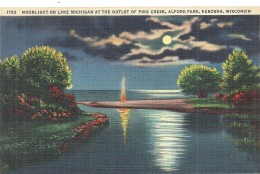 ETATS UNIS - UNITED STATES OF AMERICA - WISCONSIN - Moonlight On Lake Michigan At The Outlet Of Pike Creek Alfort Park - Etats-Unis