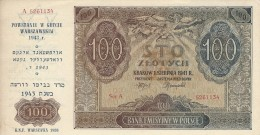 POLAND 100 ZŁOTYCH 1941 (1989) P-103 AU+/UNC US OVERPRINT 1986 VERY RARE [ PL103 ] - Poland
