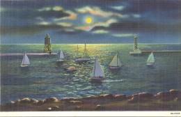 ETATS UNIS - UNITED STATES OF AMERICA - WISCONSIN -  Moonlight On Lake Michigan Racine - Etats-Unis
