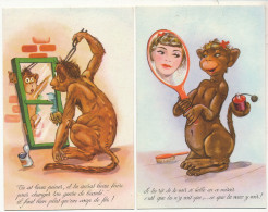 2 Cartes Singe Guenon à Sa Toilette Miroir Humour Coiffeur Fer à Friser Monkey - Singes