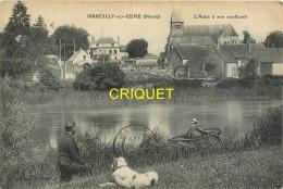 51 Marcilly Sur Seine, L'Aube à Son Confluent, Homme Avec Chien Et Femme En Barque Au 1er Plan, Carte Pas Courante - Other Municipalities