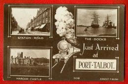 PORT TALBOT MULTI THE DOCKS BOAT,STATION RD.,MARGAM CASTLE VINTAGE PHOTO PC. 164 - Ansichtskarten