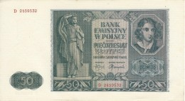 POLAND 50 ZŁOTYCH 1941 P-102 AU/UNC S/N D. 2459532  [ PL102 ] - Poland