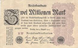 GERMANY 2 MILLION MARK 9.8.1923 P-104a  XF PREFIX RW  [ DER104a ] - 2 Millionen Mark