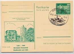 DDR P79 C101-a Postkarte PRIVATER ZUDRUCK Stadtmauer Wappen Osterfeld Sost. 1979 - DDR