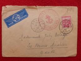 LETTRE CACHET ORAN R.P AVION SUR TIMBRE ALGERIE MARINE NATIONALE SERVICE A LA MER  1942 - Storia Postale