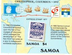 1992 Samoa  Stamp On Stamp America Discovery Complete Set Of 1 MNH - Samoa