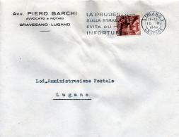 1946 Svizzera - Annullo Di Lugano  - Pudenza Sulla Strada - Incidenti E Sicurezza Stradale