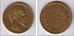 20 FRANCS NAPOLEON III GOLD 1858 - Francia
