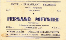 69La  83 Ginasservis Café Relais Des Routiers Fernand Meynier - Cartoncini Da Visita