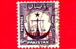 PAKISTAN - Usato - 1948 - Motivi Del Paese - Bilancia Della Giustizia - Mezzaluna - Sovrastampato SERVICE - 6