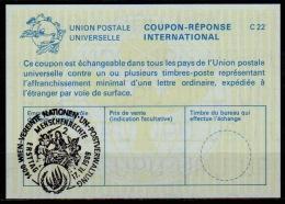 UNITED NATIONS VIENNA  MENSCHENRECHTE FDC 17.11.89 On Int. Reply Coupon Reponse IRC IAS Antwortschein La24 - Cartas