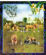 Zaire 1997, Lion, Orchids, 4val In BF  IMPERFORATED - 1990-96: Ongebruikt