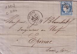 COTE D'OR - BEAUNE - CERES N°60 OBLITERATION GC DU 30 MARS 1872 - VERSO BUREAU DE PASSE 1307. - 1849-1876: Classic Period