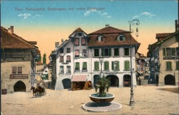 Thun Thoune Rathausplatz, Gerberstraße Und Hauptgasse Ansichtskarte 1914 - BE Bern