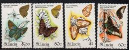 1991 St. Lucia Butterflies Complete Set Of 4 MNH