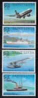 1999 St. Lucia UPU Ship Plane Complete Set Of 4 MNH